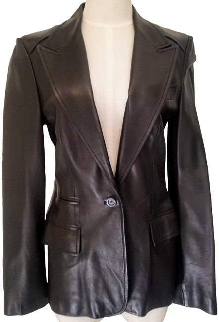 Item - Black Single Breasted Button Jacket Size 6 (S)