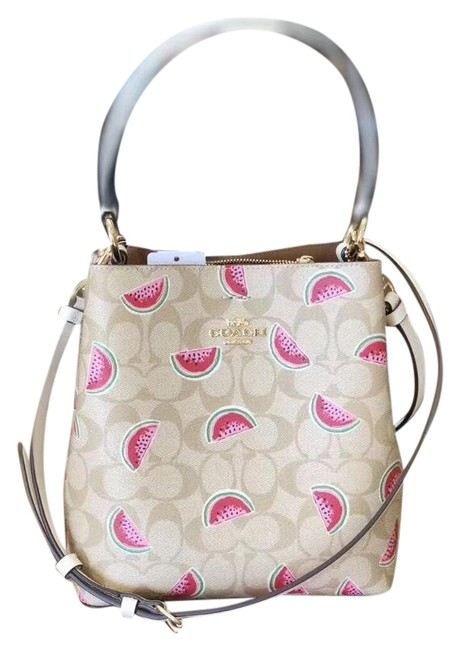 Item - Bucket Town In Signature with Watermelon Print Chalk/Light Khaki Coated Canvas Shoulder Bag
