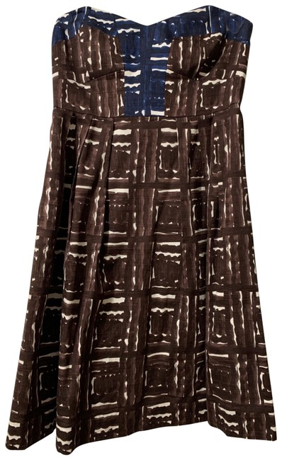 Item - Brown Blue and White Strapless Short Cocktail Dress Size 6 (S)