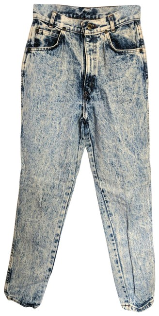 Item - Gray Black Acid Vintage Wash High Waisted Mom Tapered 24x27 Straight Leg Jeans Size 24 (0, XS)