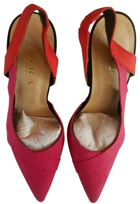 Item - Fuchsia New Red Pink Faux Suede Leather Contrast High Heel Pink Formal Shoes Size US 6 Narrow (Aa, N)