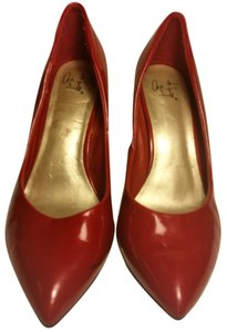 diba Patent Pointy Red Pumps