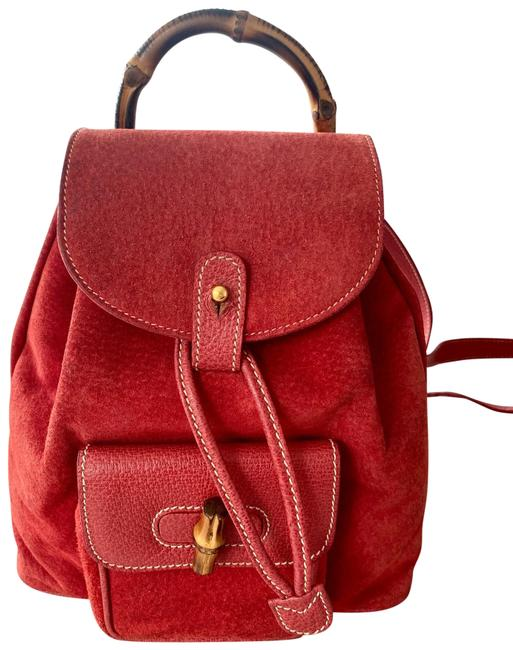 Item - Vintage Mini Bamboo Red Suede Leather Backpack