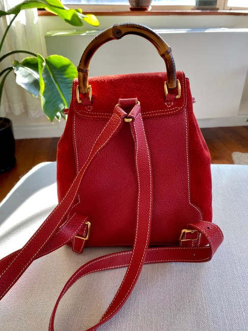 Gucci Vintage Mini Bamboo Red Suede Leather Backpack Gucci Vintage Mini Bamboo Red Suede Leather Backpack Image 2