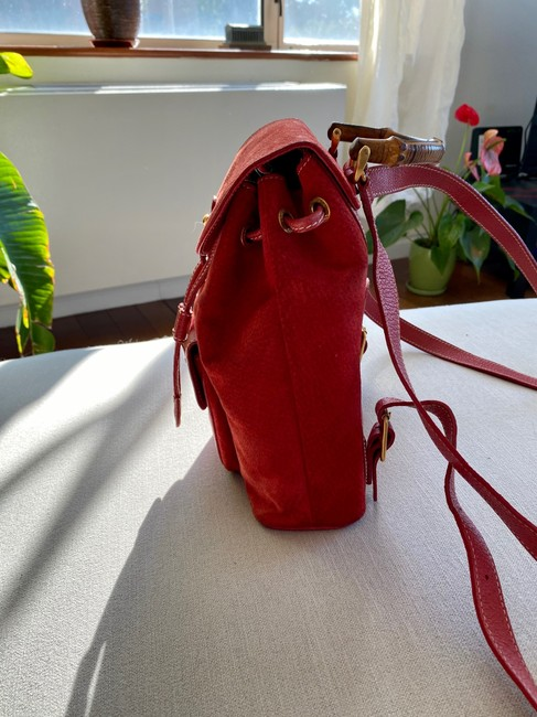 Gucci Vintage Mini Bamboo Red Suede Leather Backpack Gucci Vintage Mini Bamboo Red Suede Leather Backpack Image 3