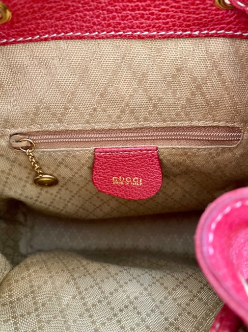 Gucci Vintage Mini Bamboo Red Suede Leather Backpack Gucci Vintage Mini Bamboo Red Suede Leather Backpack Image 4