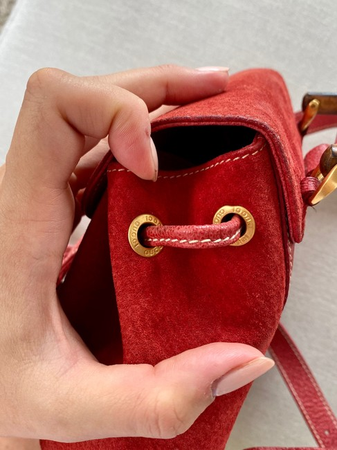 Gucci Vintage Mini Bamboo Red Suede Leather Backpack Gucci Vintage Mini Bamboo Red Suede Leather Backpack Image 6