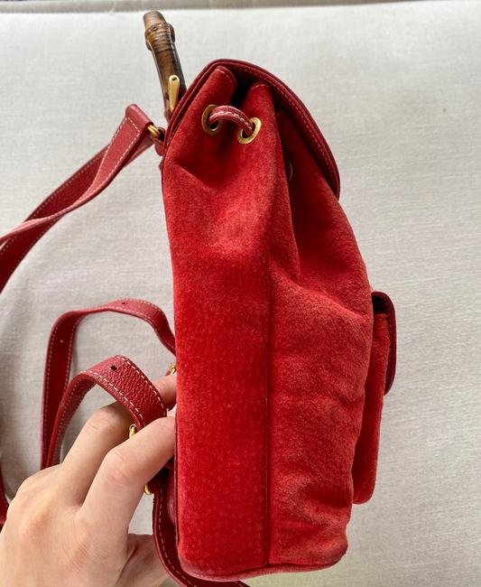 Gucci Vintage Mini Bamboo Red Suede Leather Backpack Gucci Vintage Mini Bamboo Red Suede Leather Backpack Image 7