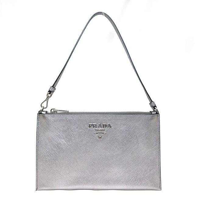 Item - Accessory Pouch Ladies Saffiano 1nh004 Silver Leather Shoulder Bag