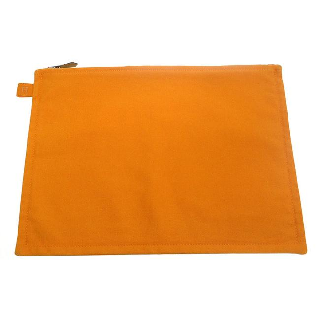 Item - Pouch Bora Gm Flat Orange Cotton Canvas Clutch