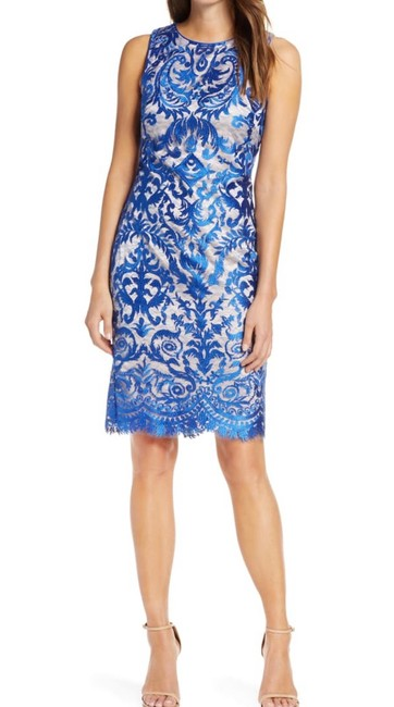 Item - Royal Blue Embroidered Sheath Knee Length Nylon Mid-length Night Out Dress Size 14 (L)