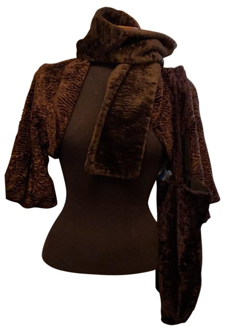 Item - Brown Swakara Faux Furbolero Jacket Coat Size 8 (M)