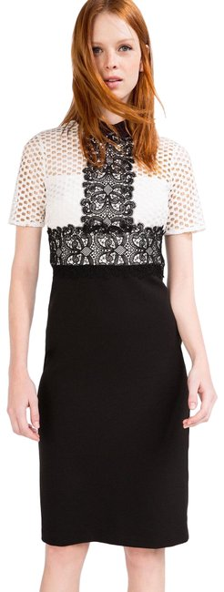 Zara Tube with Contrast Lace Top Mid-length Cocktail Dress Size 2 (XS) Zara Tube with Contrast Lace Top Mid-length Cocktail Dress Size 2 (XS) Image 1