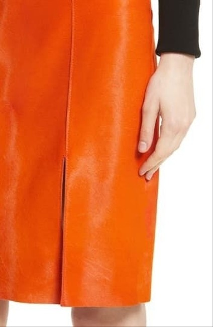 Item - Orange Calf Hair Leather Pencil Skirt Size 8 (M, 29, 30)