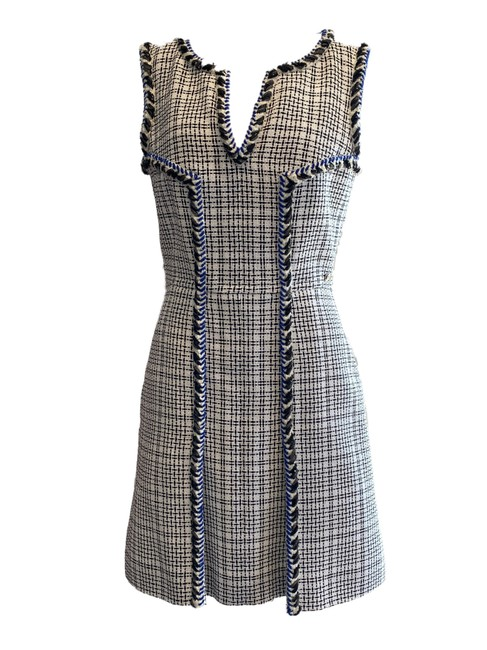 Item - White Black and Tweed A with Boucle Trim Short Cocktail Dress Size 6 (S)