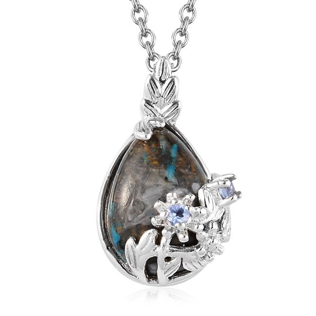 Item - Chrysocolla / Tanzanite 5.58 Ctw Sierra Madre and Pendant In Necklace