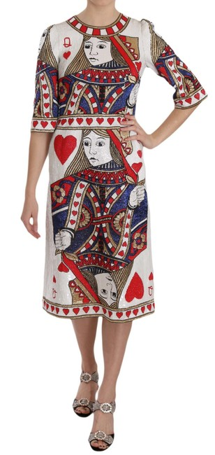 Item - Multicolor Queen Of Hearts Card Sequined Runway G Mid-length Short Casual Dress Size 4 (S)