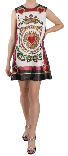 Item - Multicolor Sacred Crown Heart Sequined Mini G Short Casual Dress Size 12 (L)