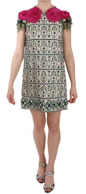Item - Multicolor Crystal Jewel Floral Sleeves Mini G Short Casual Dress Size 2 (XS)