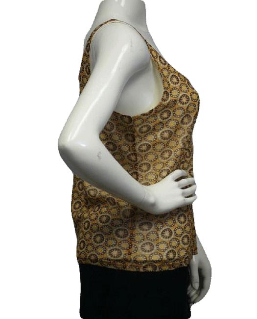 Item - Tan Brown Yellow Ny Co 60's Retro Mesh Geometric Print Large Sku 000023 Tank Top/Cami Size 12 (L)