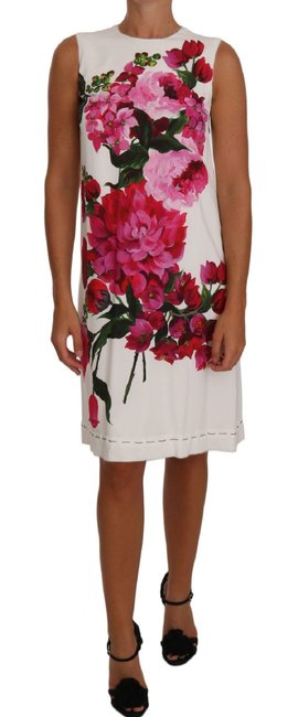 Item - White Pink Peony Print A-line Shift Gown G Mid-length Short Casual Dress Size 0 (XS)