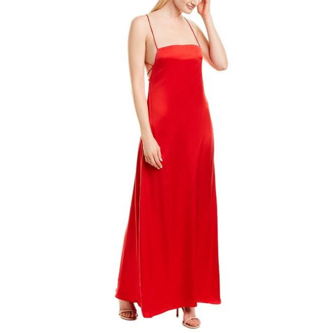 Item - Red Lace Up Long Formal Dress Size 6 (S)