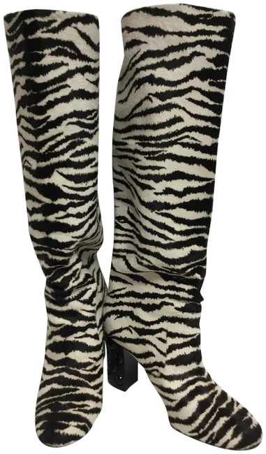 Item - Black and White Zebra Printed Pony Skin Boots/Booties Size EU 38.5 (Approx. US 8.5) Regular (M, B)