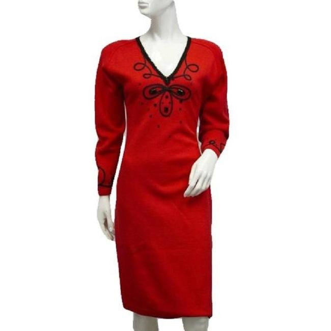Item - Red 70's Knit Sku 000089 Mid-length Short Casual Dress Size 8 (M)