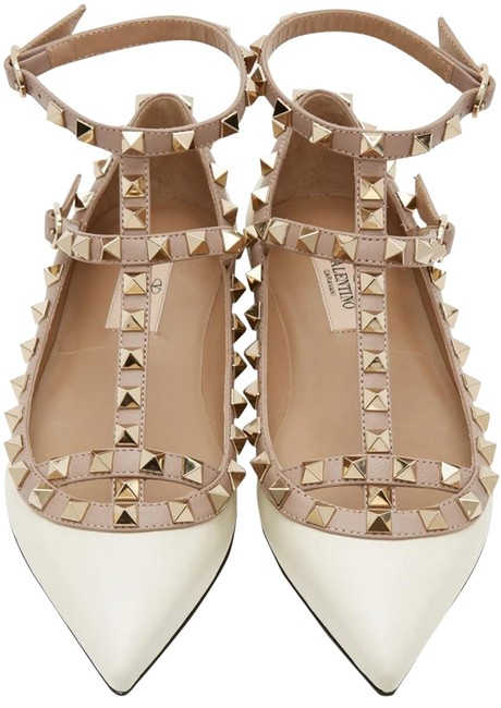 Item - Multicolor Rockstud Cage Ivory and Beige Flats Size EU 38.5 (Approx. US 8.5) Regular (M, B)