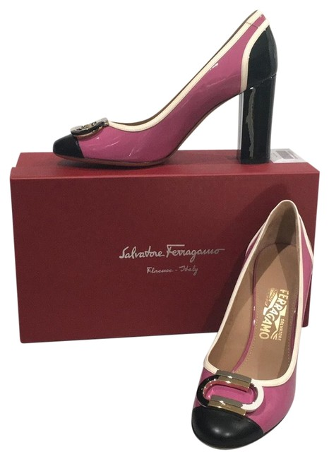 Item - Rosey Pink and Black with Off White Trim; Very Nice Detailed Hardware Gwen Pumps Size US 9.5 Regular (M, B)