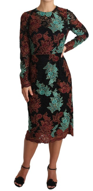 Item - Black Multicolor Lace Embroidered Midi Dolce & Gabbana Mid-length Short Casual Dress Size 16 (XL, Plus 0x)