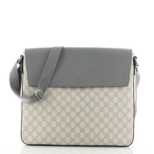 Item - Flap Gg with Large Gray Canvas Coated Leather Messenger Bag