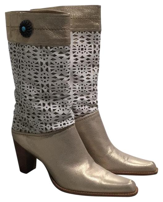 Item - Gold and White Galaxy with Sugar Napa Boots/Booties Size US 8.5 Regular (M, B)