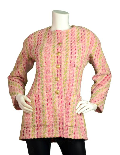 Item - Pink W Fantasy Tweed Boucle W/Goldtone Buttons Jacket Size 10 (M)