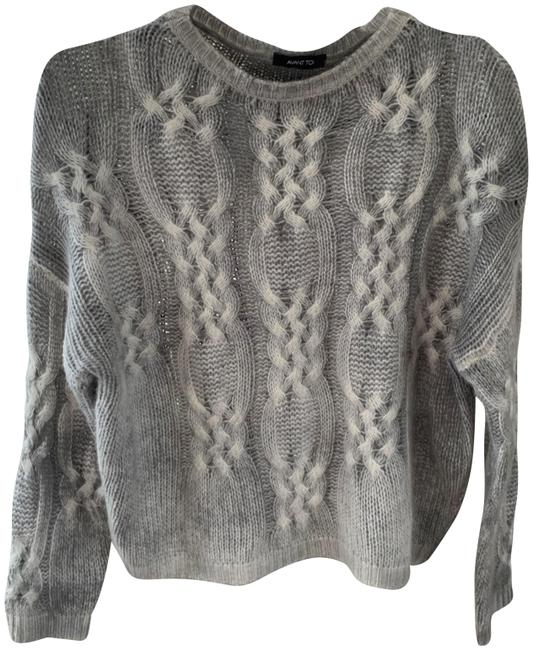 Item - Light Cable Knit Cashmere Size S Grey White Sweater