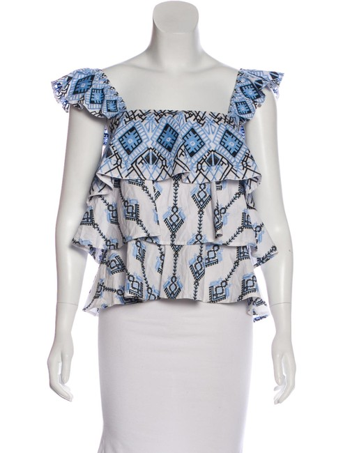 Item - Blue White Embroidered Ruffle M Blouse Size 8 (M)