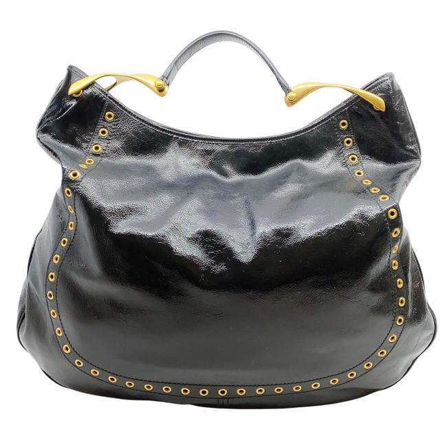 Item - Gold Grommet Black Patent Leather Hobo Bag