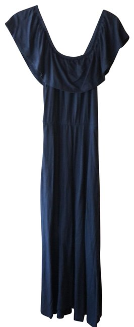 Item - Navy Jersey Knit Long Casual Maxi Dress Size 4 (S)