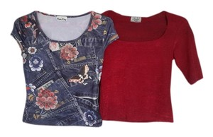 Spoiled Jean Stretch Stretchy T Shirt Red and Blue