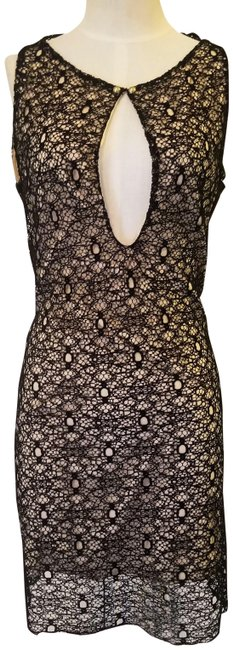 Item - Black / Nude / Lace Overlay Tank Top Keyhole Backless Silk Short Cocktail Dress Size 8 (M)