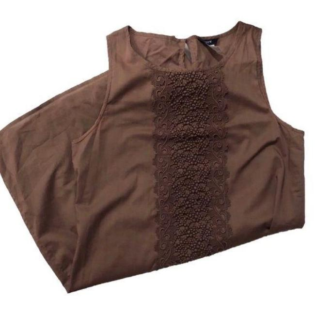 Item - Brown Sleeveless Lace Detailing Short Casual Dress Size 0 (XS)