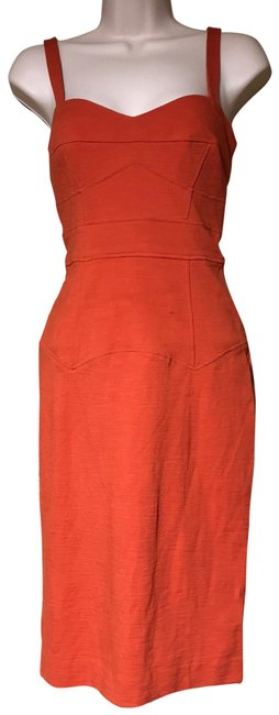 Item - Orange Fitted Night Out Dress Size 6 (S)