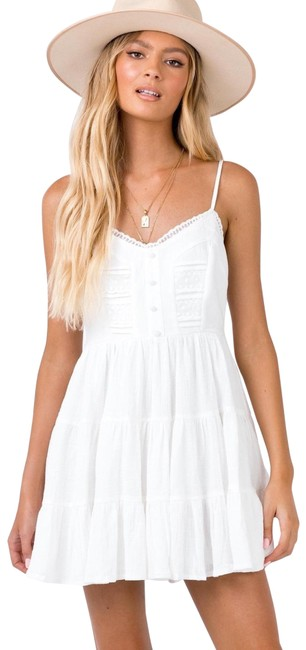 PRINCESS POLLY White Dlaney Mini Short Casual Dress Size 6 (S) PRINCESS POLLY White Dlaney Mini Short Casual Dress Size 6 (S) Image 1