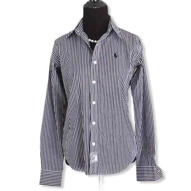 Item - Navy Blue Striped Button-down Top Size 2 (XS)