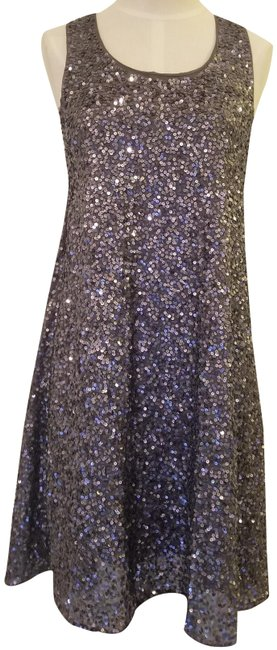 Item - Gunmetal Silver Charcoal Sequined Racerback Tank Bow Short Cocktail Dress Size 2 (XS)