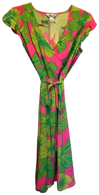Item - Pink Green Silk Wrap Mid-length Night Out Dress Size 4 (S)