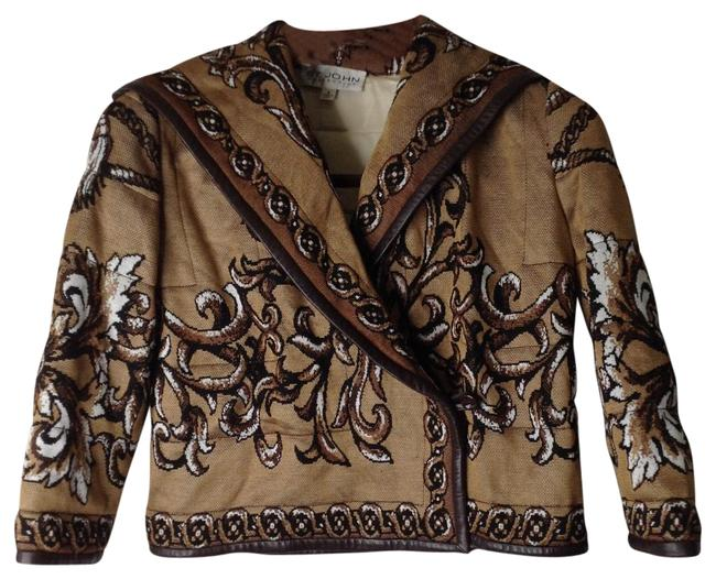 Item - Brown/Tan Collection Quilted Knit Jacket Blazer Size 4 (S)
