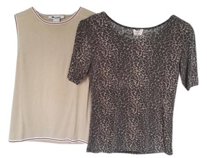 Peter Nygard Shell Stretch Stretchy Brown Beige Top Khaki and Leopard Print