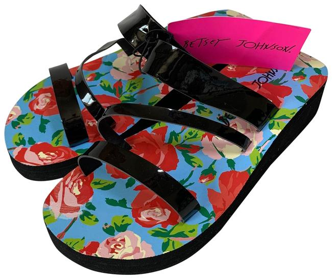 Item - Black Blue Red Cream Wedge Floral Strap Sandals Size US 8 Regular (M, B)