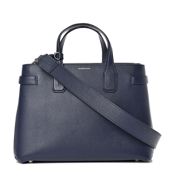 Item - Medium Banner In and Vintage Check Navy Leather Satchel